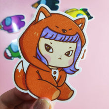 Load image into Gallery viewer, Whimsical Cat in Fox Onesie Vinyl Sticker