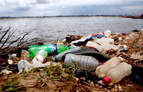 Plastic Waste Near the Beach Where it will likely end up in the ocean polluting our planet and harming the animals and marine life on earth