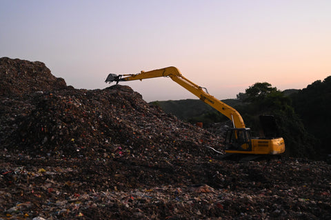 Bulldozer in landfill