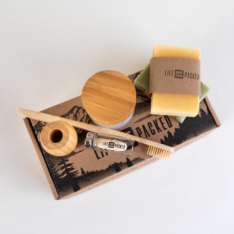 zero waste and plastic free bundle including bamboo toothbrushes, bamboo toothbrush holders, zero waste silk floss, zero waste shave bars, zero waste chemical free tooth powders