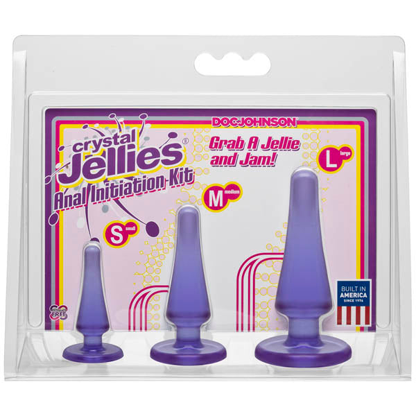 Crystal Jellies Anal Initiation Kit - Purple Butt Plugs - Set of 3 Sizes