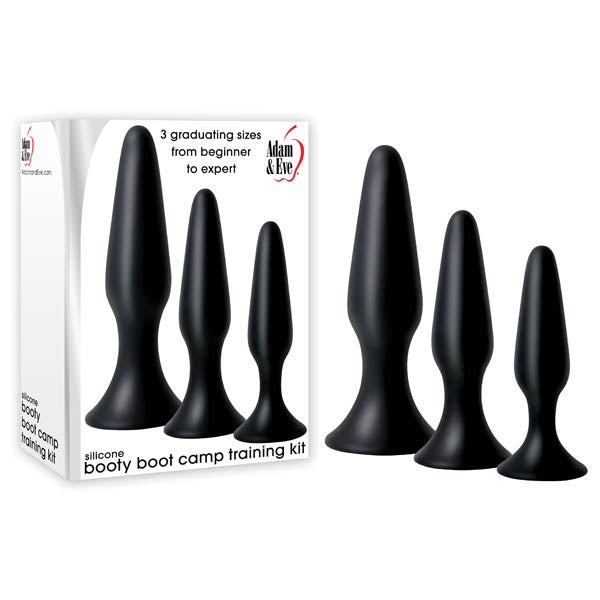 Adam & Eve Silicone Booty Boot Camp Training Kit - Black Butt Plugs - Set of 3 Sizes