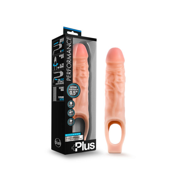 Performance Plus 9'' Silicone Cock Sheath Penis Extender - Flesh 1.3 cm (0.5'') Penis Extension Sleeve