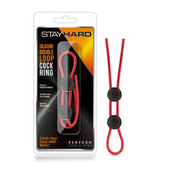 Stay Hard Silicone Double Loop Cock Ring - Red Adjustable Lasso Cock Ring