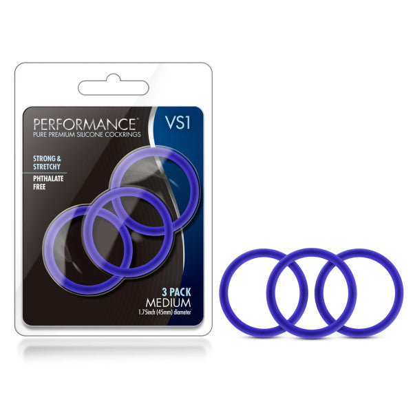 Performance VS1 Pure Premium Silicone Cockrings - Indigo Blue Medium Cock Rings - Set of 3