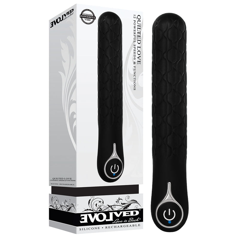 Evolved Quilted Love - Black 21.6 cm USB Rechargeable Vibrator