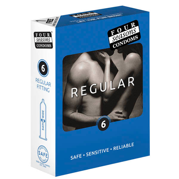 Four Seasons Regular Condoms - Regular Fit Lubricated Condoms - 6 Pack