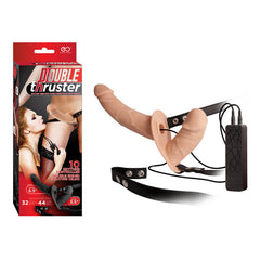 Double Thruster - Flesh 17 cm Vibrating Strap-On with 9 cm Vibrating Vaginal Plug