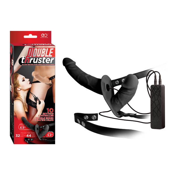 Double Thruster - Black 17 cm Vibrating Strap-On with 9 cm Vibrating Vaginal Plug