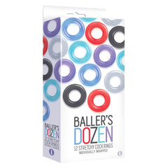 Baller's Dozen - Individually Wrapped Cock Rings - Pack of 12