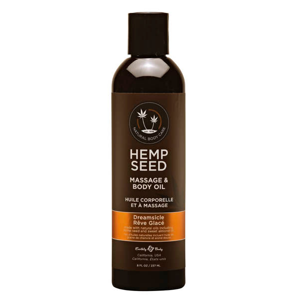 Hemp Seed Massage & Body Oil - Dreamsicle (Tangerine & Plum) Scented - 237 ml Bottle