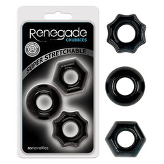 Renegade Chubbies - Black Cock Rings - Set of 3