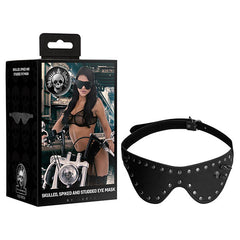 Ouch! Skull & Bones Skulled, Spiked & Studded Eye Mask - Black Eye Mask