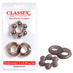 Classix Performance Cock Ring Set - Smoke Cock Rings - Set of 2