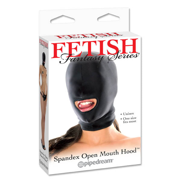 Fetish Fantasy Series Spandex Open-Mouth Hood - Black Hood