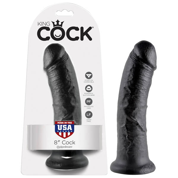 King Cock 8'' Cock - Black 20.3 cm (8'') Dong