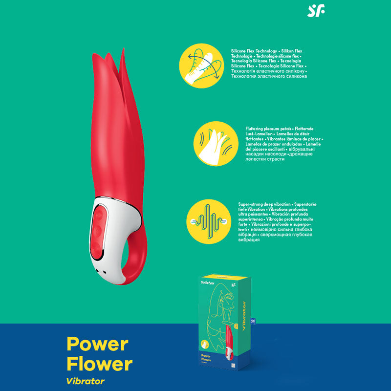Satisfyer Vibes - Power Flower - Red USB Rechargeable Vibrator