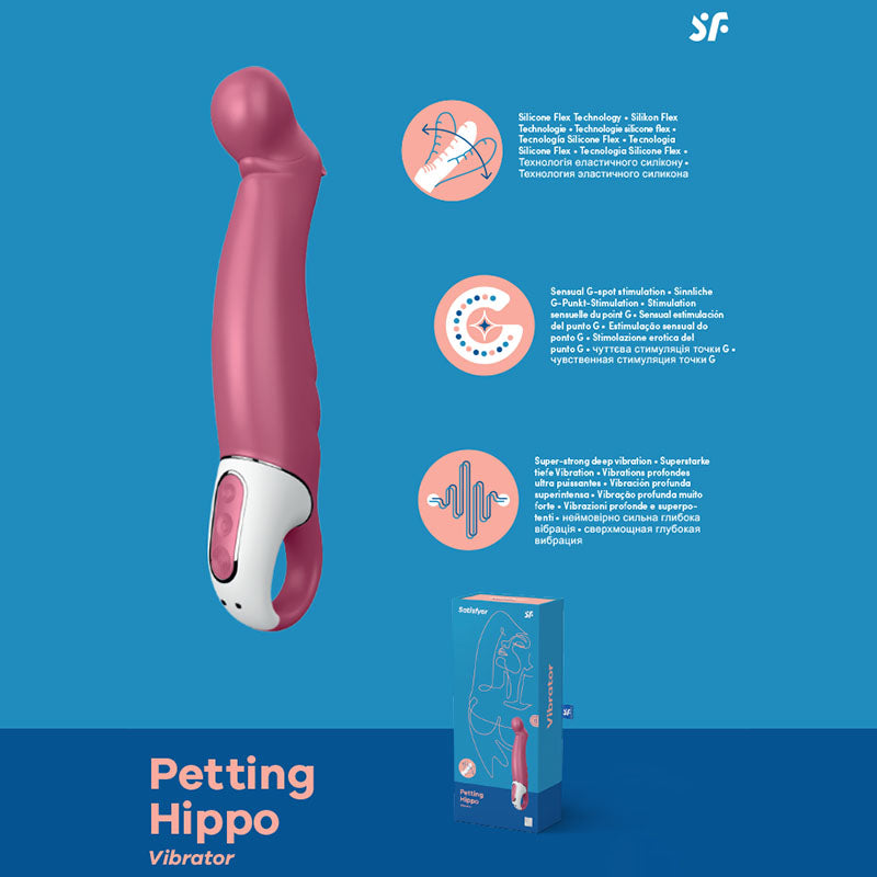 Satisfyer Vibes - Petting Hippo - Raspberry Pink USB Rechargeable Vibrator