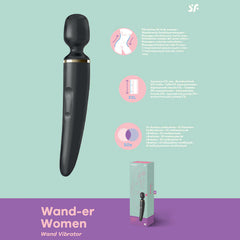Satisfyer Wand-er Woman - Black USB Rechargeable Massager Wand
