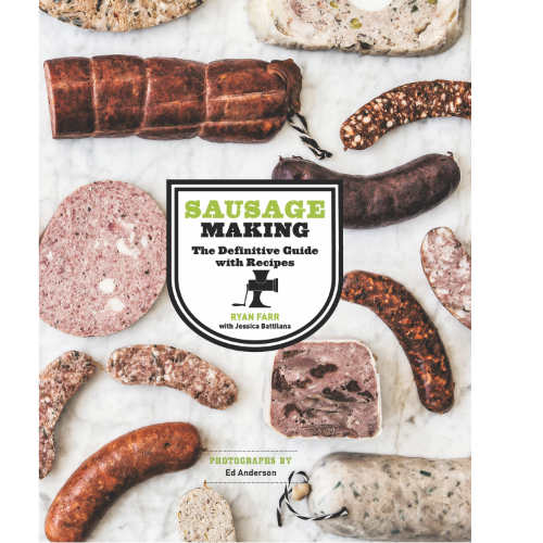 Cover of 4505 Meats Sausage Making book with different sausages and cured meats pictured on white marble background