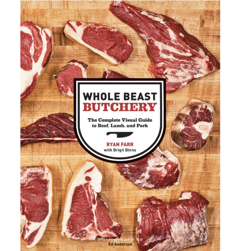 Cover of Whole Beast Butchery book with different cuts of meat photographed on a butcher block