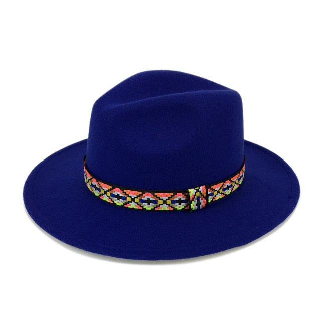 ee6223a697ed3 New Ethnic Style Trilby Hats  Women Wool Fedora With Colorful Ribbon   Vintage Inspired