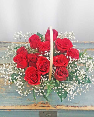 DOZEN ROSES IN BASKET (Variety of colors available)