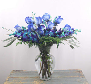 Blue Paradise Bouquet (1 Doz Blue Roses With Blue Orchids )