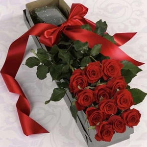 Dozen Boxed Roses (Red, Pink, Rainbow, Blue, Purple, Mixed, White, Yellow)