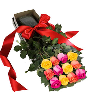 DOZEN ROSES IN THE BOX (Variety of colors available)