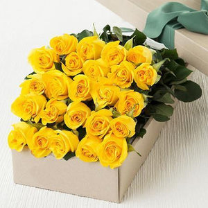 Two Dozen Boxed Yellow Roses (Multiple Colors Available)