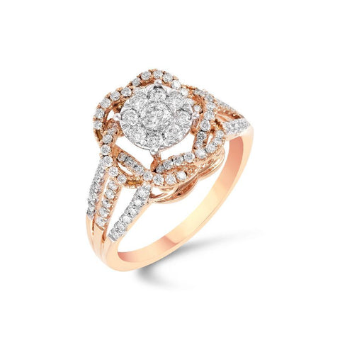 18 Kt Rose Gold Diamond Ring