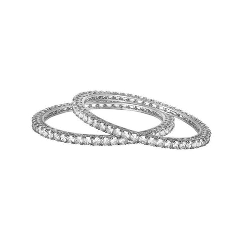 Image of White Solitaire Bangles