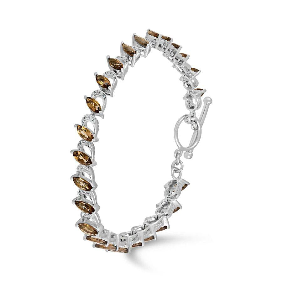 Smokey Quartz and White Topaz Bracelet
