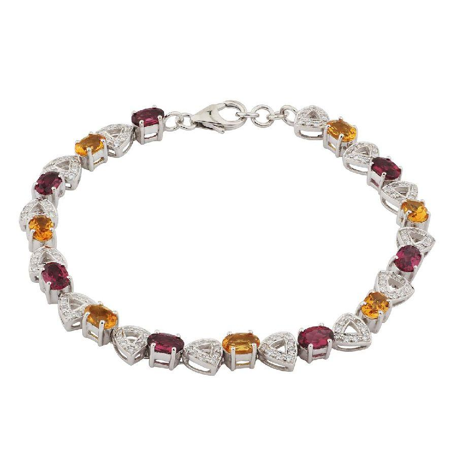 Silver Girls Bracelet in Multicolour Stones