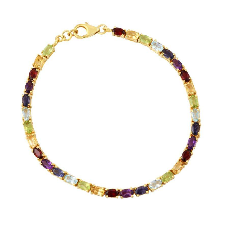 Multicolour gemstone studded Silver Bracelet