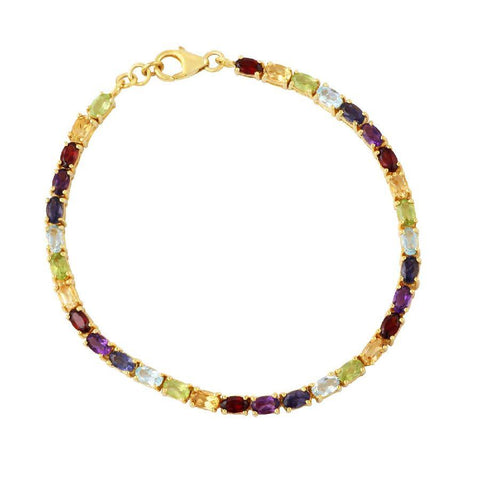 Image of Multicolour gemstone studded Silver Bracelet