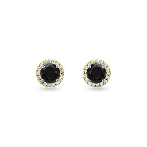 Silver Dew Round Black Silver Studs Earrings
