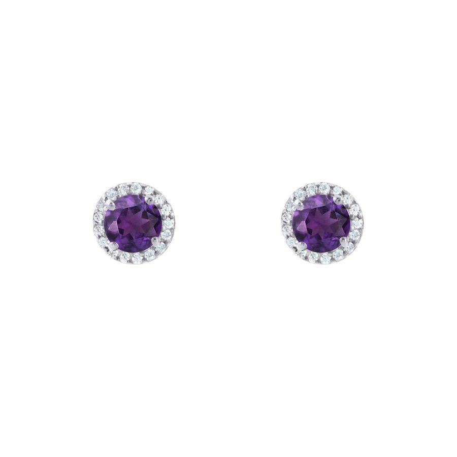 Silver and Amethyst Stylish Studs