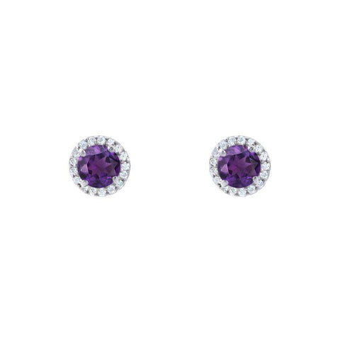 Image of Silver and Amethyst Stylish Studs