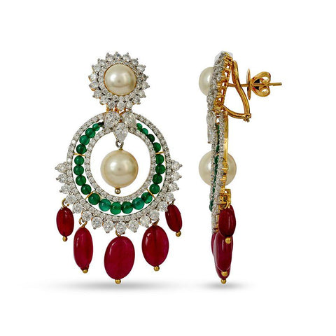 Silver and Cubic Zirconia Traditional Chandbalis