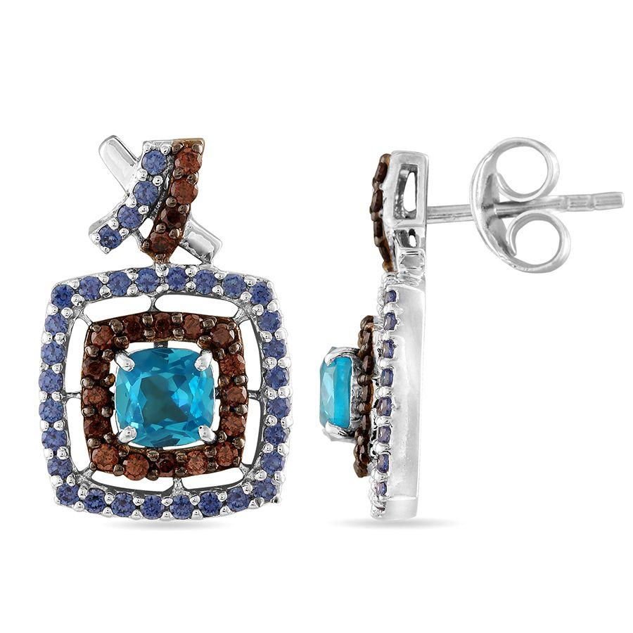 Three-Colour Square Earrings