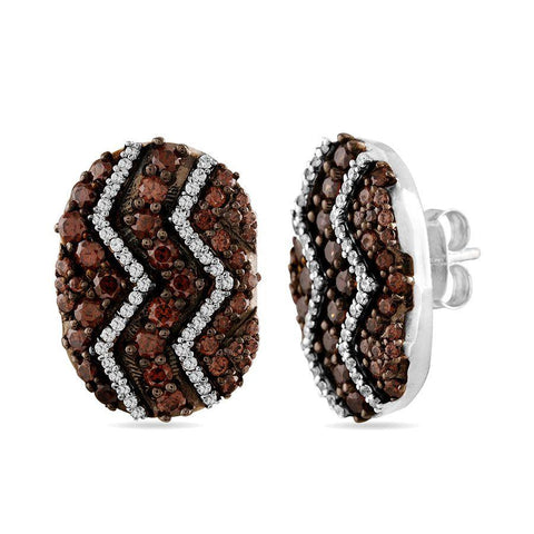 Image of Brown & White Stone Earrings