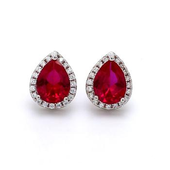 AD Pear Red Created Ruby Solitaire Stud
