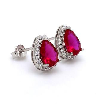 Image of AD Pear Red Created Ruby Solitaire Stud