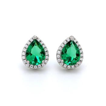AD Pear Green Created Emerald Solitaire Stud