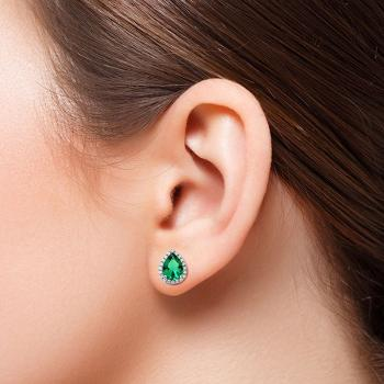 Image of AD Pear Green Created Emerald Solitaire Stud