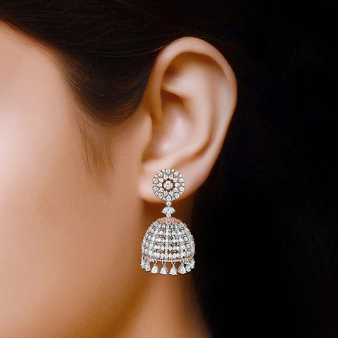 Image of Rose and White Small Jhumkas