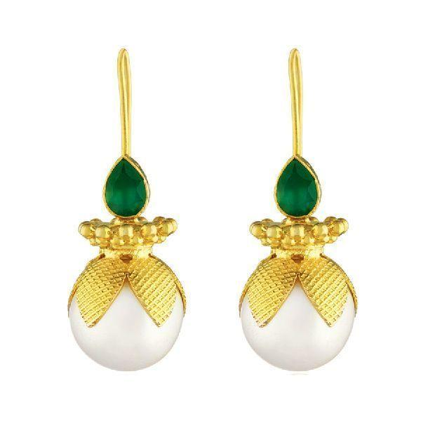 Gold Petal Pearl Earrings