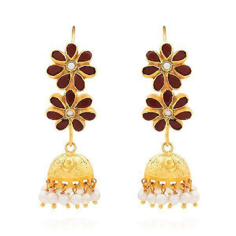 Image of Red Onyx Floral Hoop Jhumki